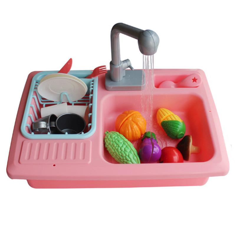 Children'S Small Kitchen Play Water Cleaning Toys Small Pool Play Home Kindergarten Automatic Circulation Sink Sink Dishware S