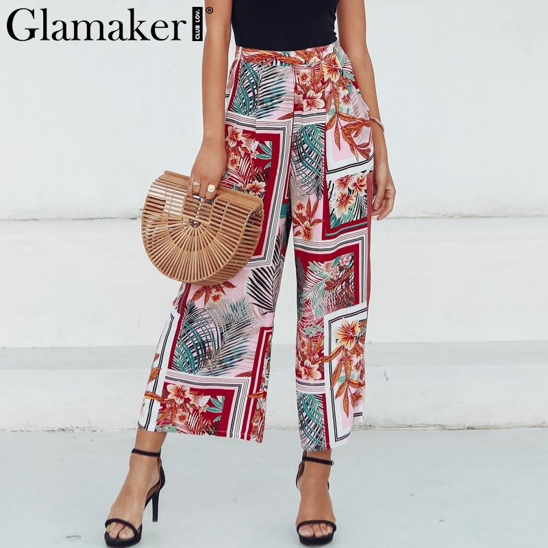c4331e5640 2019 Glamaker Boho Patchwork Floral Print Wide Leg Pants Women Elastic High  Waist Trousers Female Summer Beach Loose Casual Bottoms From Manteau, ...
