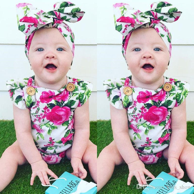 5e2bed1b6 Newborn Baby Girls Sleeveless Floral Printed Rompers With Headband ...