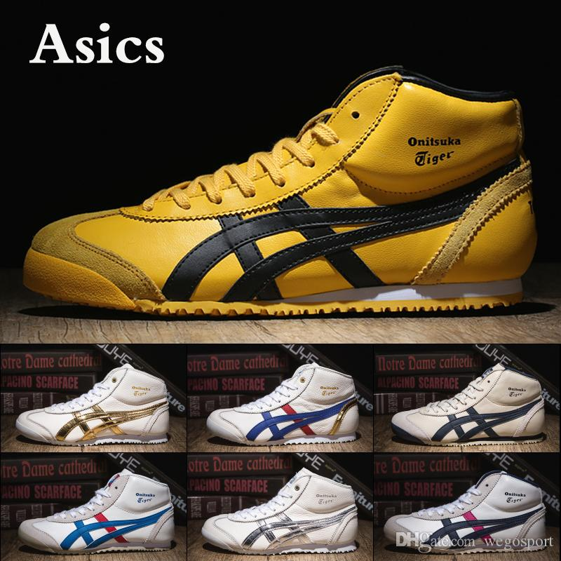 cheaper 61425 f728e Asics Onitsuka Tiger MEXICO 9 Men Running Shoes Stripe Black White Gold  Best Qualit Designer Sneakers Sport Shoes Size 36-45