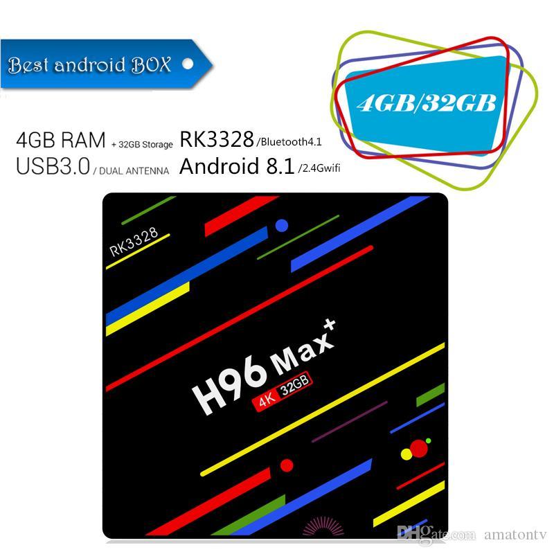 H96 MAX Plus Tv Box Android 8 1 Rockchip RK3328 Quad Core 4GB RAM 32GB ROM  Smart Tv 2 4G Wifi H 265 Better S905X2 X96 MAX
