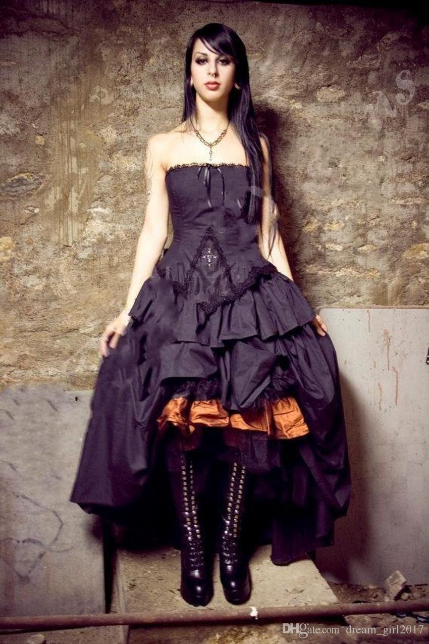 Victorian Wedding dresses 2019 New Steampunk Gothic Lolita Inspired Vampire Black Custom Wedding Bridal Gowns Plus Size Formal Wear