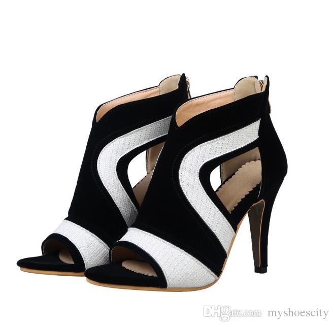 Tamanho pequeno grande 31 32 33 a 40 41 42 43 44 branco preto peep toe sapatos de salto alto mulheres saltos designer moda oco out sapatos