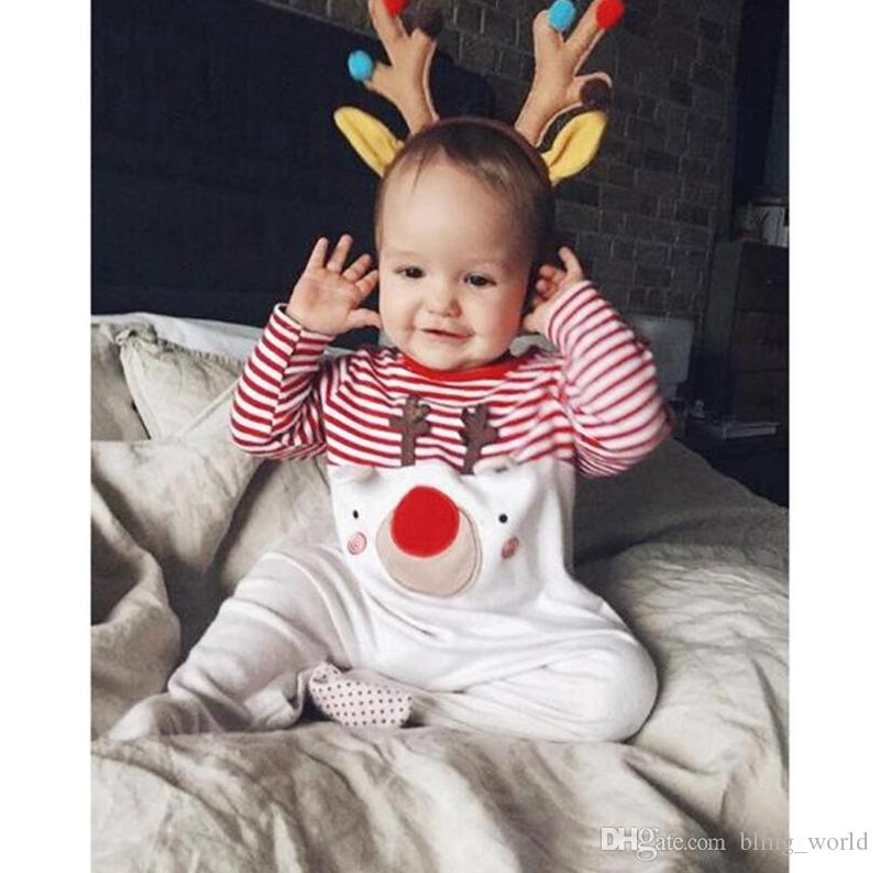 f9f868b57 2019 Baby Christmas Elk Rompers Newborn Striped Jumpsuits Boys Girls  Jumpsuits Onesies Iinfant Outdoor Romper Kids Designer Chothes YL890 From  Bling_world, ...