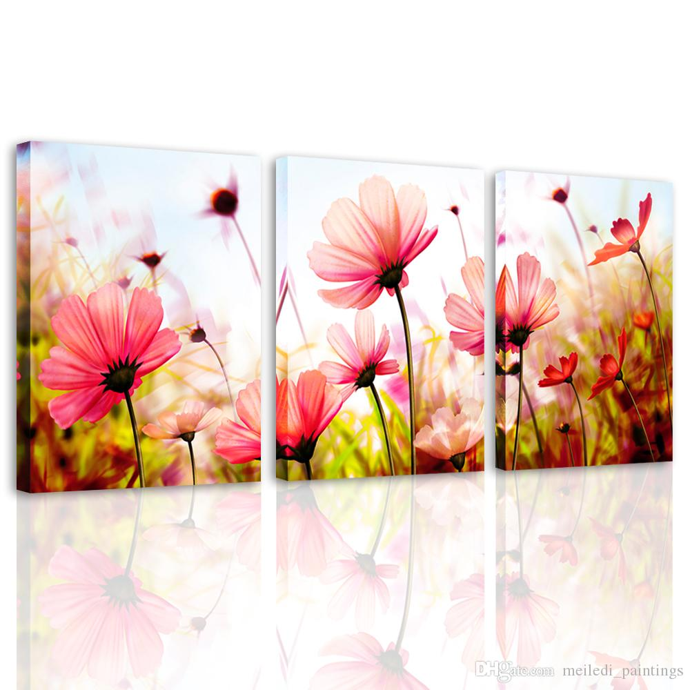 Canvas Prints Wall Art for Teen Girl room Pink Gesang Floral Painting  Picture Modern Home Decor