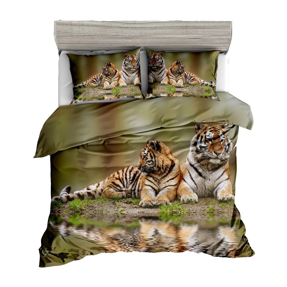 Digital Animal Print Bedding Sets Tiger Leopard Horse Wolf Pattern
