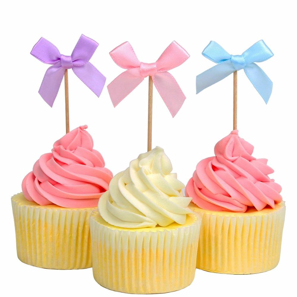 Heronsbill Bowknot Cupcake Toppers Wedding Table Decorations Kids Birthday Bachelorette Party Baby Shower Supplies