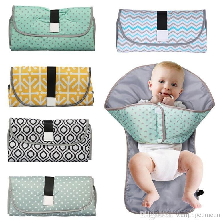 3-in-1 Baby Changing Pads Multifunctional Portable Infant Baby Foldable Urine Mat Waterproof Nappy Bag Diaper Cover Mat Travel 9 Colors