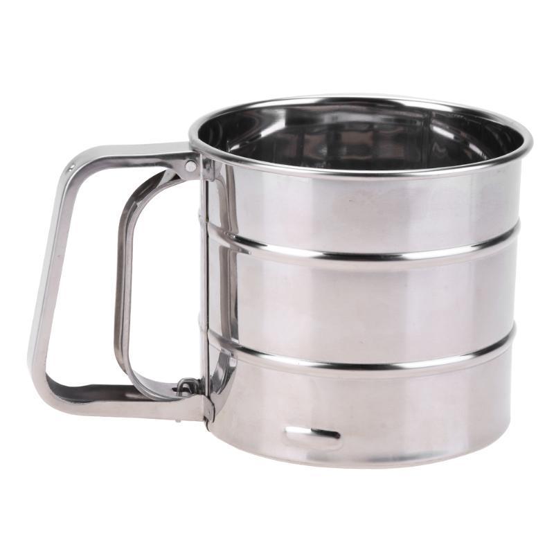 Handheld Flour Shaker Stainless Steel Mesh Sieve Cup Icing Sugar Bake Tool Hand-pressed Hand-pressed Bakeware Sifters