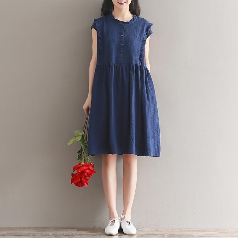 Summer Dress White Blue Mori Gril Dress Stand Collar Sleeveless Cotton  Linen Dress Plus Size Women Clothing
