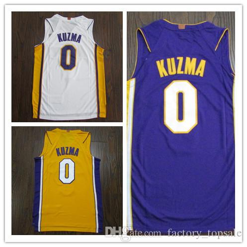 the latest c16ab 7f079 Best Quality Kyle 0 Kuzma Men s Basketball Jerseys 2018 New season Fashion  Mens Boys Club polo shirt White Yellow Purple Men Sport Jersey