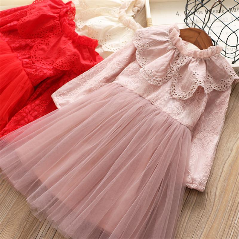 0-6 years High quality girl dress 2019 spring new fashion casual solid full sleeves kid children clothing princess girl dresses