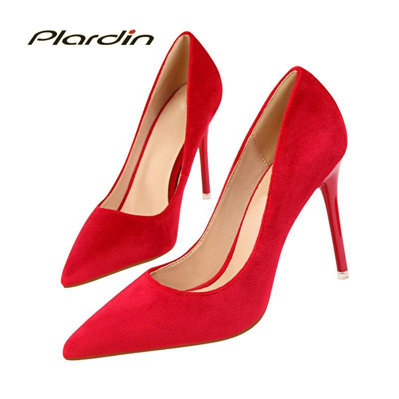 Dress Plardin Women Shoes High Heel Sweet Fashion Party Casual Ladies Shoes  Sexy Thin High Heels Suede Material Women S Pumps Italian Shoes Summer Shoes  ... 9c7829b583fe