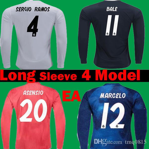 buy popular 2138f 2f68c Long Full 2018 2019 Real Madrid MODRIC Sports EA 4th red Soccer Jerseys 18  19 Football Shirts Black Blue KROOS ISCO Bale ASENSIO Camisetas