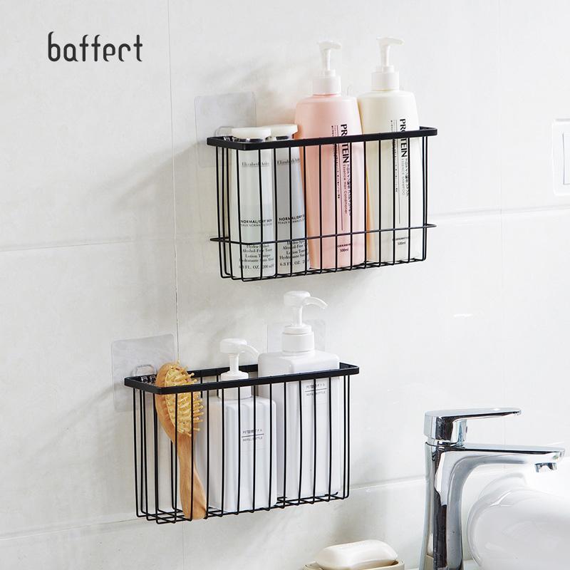 Iron Kitchen Storage Basket Sundries Wall Organizer Rack Kitchen Seasoning  Hanging Basket Bathroom Shelf Desktop Storage