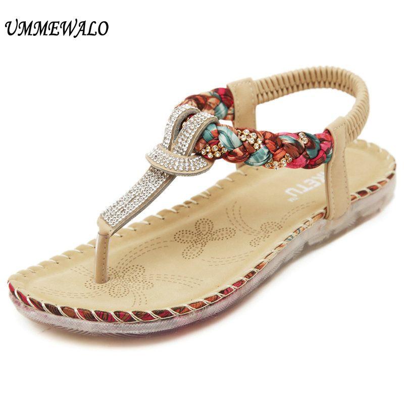 b4f721ce086d UMMEWALO Summer Sandals Women T Strap Flip Flops Thong Sandals Designer  Elastic Band Ladies Gladiator Sandal Shoes Zapatos Mujer Winter Boots For  Women ...