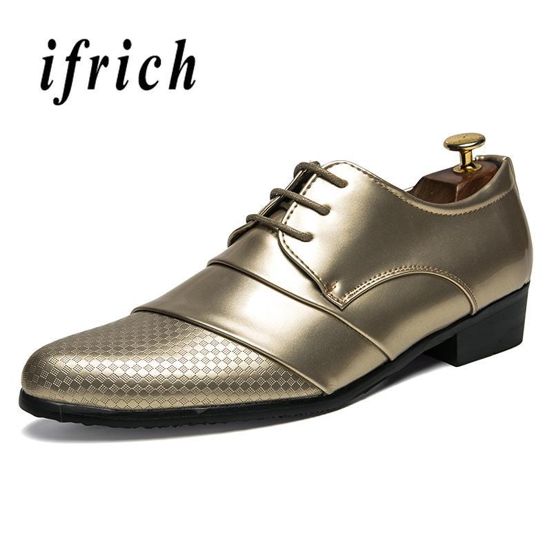 fd9e9beb Compre Nueva Marca De Lujo De Los Hombres Oxford Zapatos Vestido De Oro  Banquete Clásico Para Hombre Pu Cuero Zapato Diseñador Hombres Zapatillas  De Punta ...