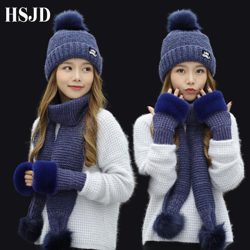 Compre 2018 Nuevas Mujeres Invierno Sombrero Bufanda   Conjuntos De Guantes  Mujer De Tres Piezas Sombreros De Punto Conjunto De Bufandas Gorros Para  Niña ... 316b52c7832