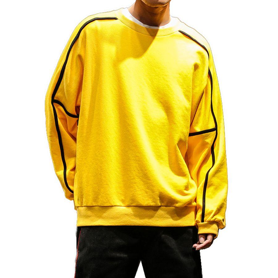 size 40 f7992 dbed0 Felpa da uomo gialla senza cappuccio Plain Felpa con cappuccio invernale da  uomo Streetwear giapponese Felpa coreana Uomo caldo Modis Sweat Hip Hop ...