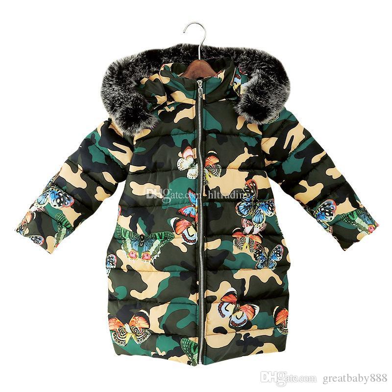46a9c067f340 Children Fur Collar Hooded Down Coat Winter Big Girls Camouflage ...