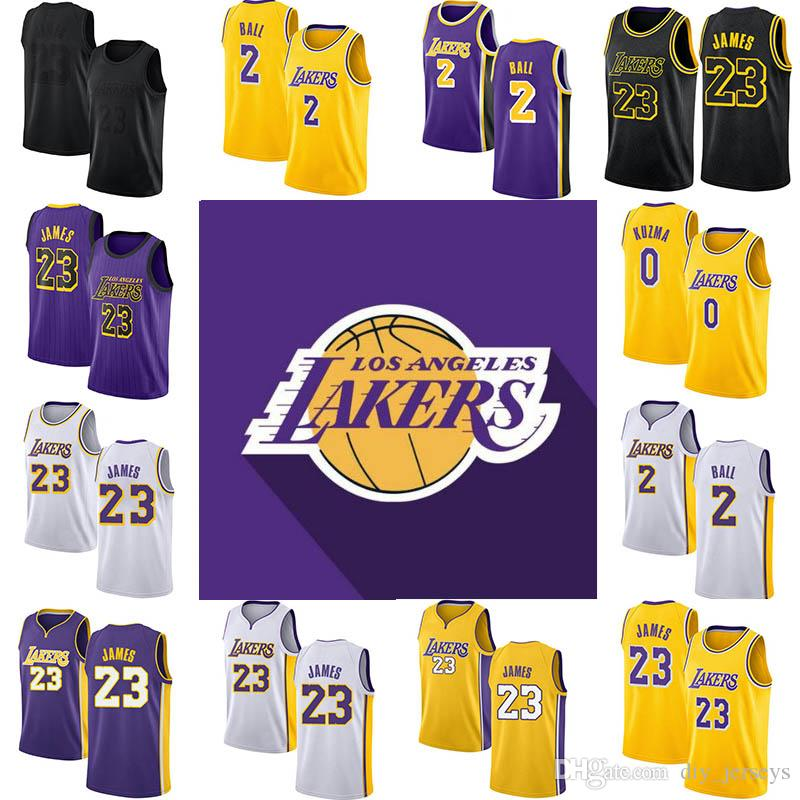 new style 6bd01 d691b 2019 Hot Los Angeles 0 Kuzma 23 James 2 Ball Mens Jersey White Black Cool  Breathable Stitched Jersey
