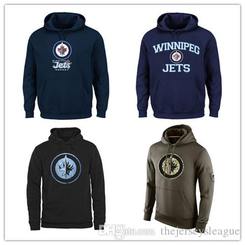 finest selection 31878 986bf Winnipeg Jets Mens Sweatshirt Salute to Service Sideline Therma Performance  Pullover Hoodie Navy Black Olive Hockey Jersey Free Shipping