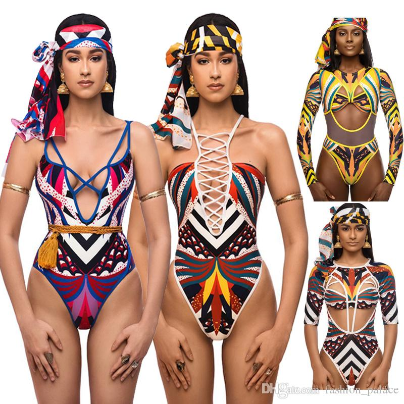 African Swimwear Totem Print Swimsuit Bikini Set Women Sexy Strappy Bandage Bikinis Cut-Out One Piece Bathing Suits XYJH0202