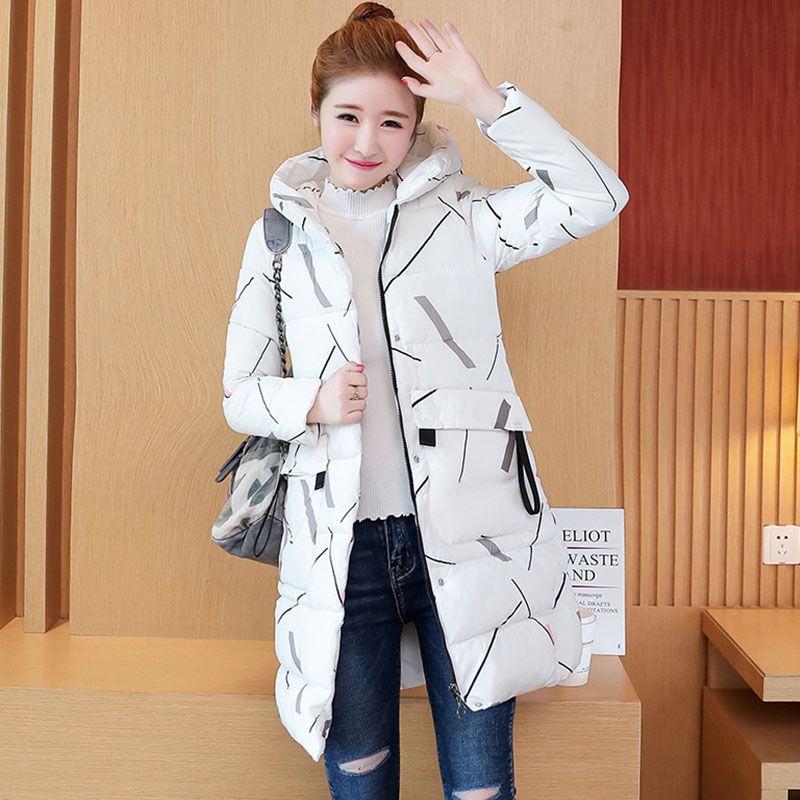 907f6cec6bb7c Satın Al Bayan Sıcak Ceket 2018 Sonbahar Kış Bayanlar Uzun Parka Moda Baskı  Beyaz Siyah Pamuk Yastıklı Ceketler Kadın Ince Kalın Palto, $48.09   DHgate.