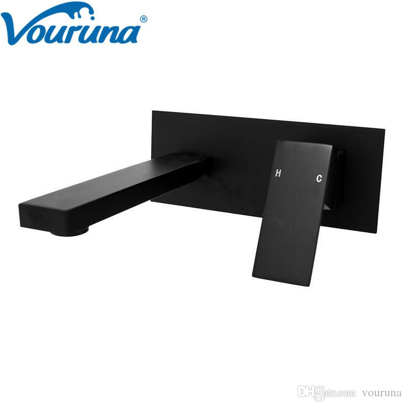 VOURUNA Square Style Cubix Matte Black Wall Basin Faucet Sink Mixer Bathroom Tap Vessel Taps Wall Spout with Plate