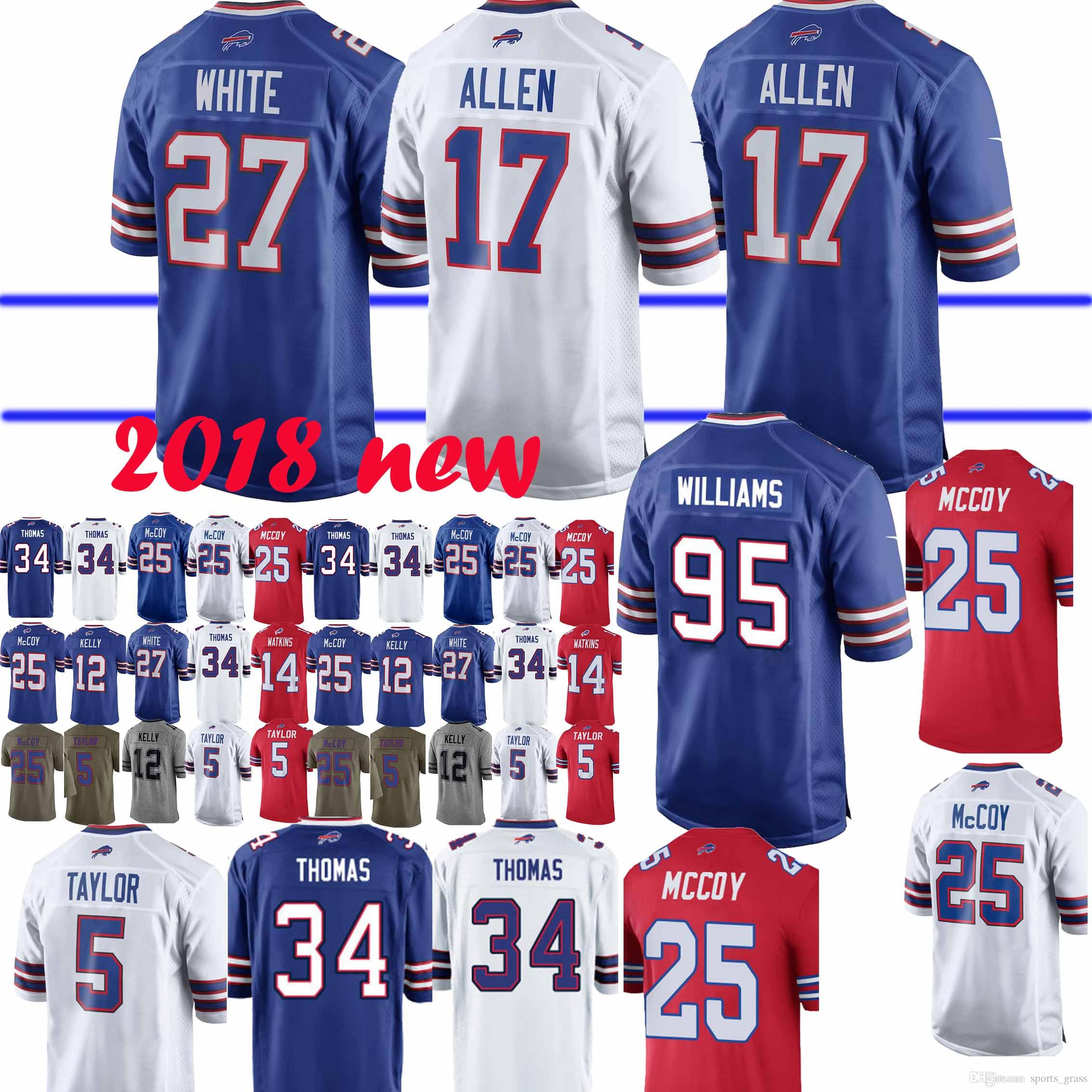 finest selection 83c6a 38325 Buffalo Jersey 17 Josh Allen Bill 12 Jim Kelly 49 Tremaine Edmunds 25  LeSean McCoy 27 Tre Davious Blanc 34 Thurman Thomas Jerseys