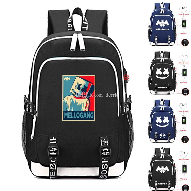 c437516b3 DJ marshmello school bag usb laptop backpack for girls boys teenagers  children's cool bookbag kids handbags