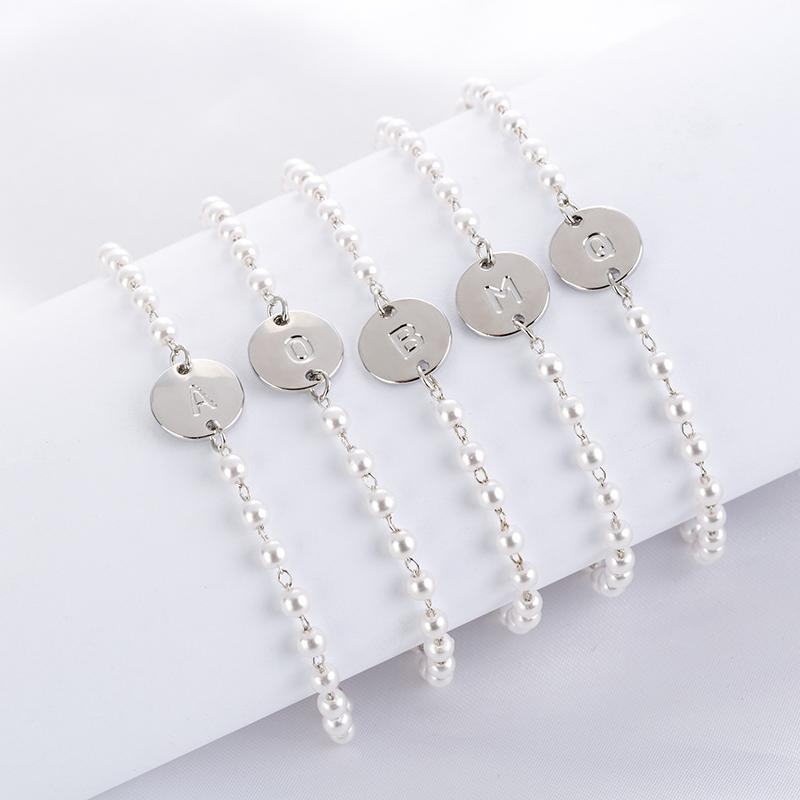 Fashion GOLD silver color 26 letter pearl Bracelet for womens girl simple Adjustable Name charm bracelet Handmade DIY Jewelry
