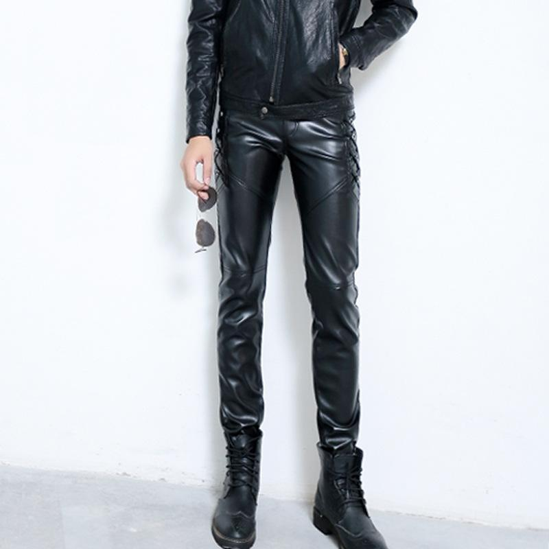 c56d478f3198 2019 Male Motorcycle Biker Ridding PU Trousers Black Faux Leather Pants For  Male Fashion Slim Fit Pencil Pant From Openran, $33.98   DHgate.Com