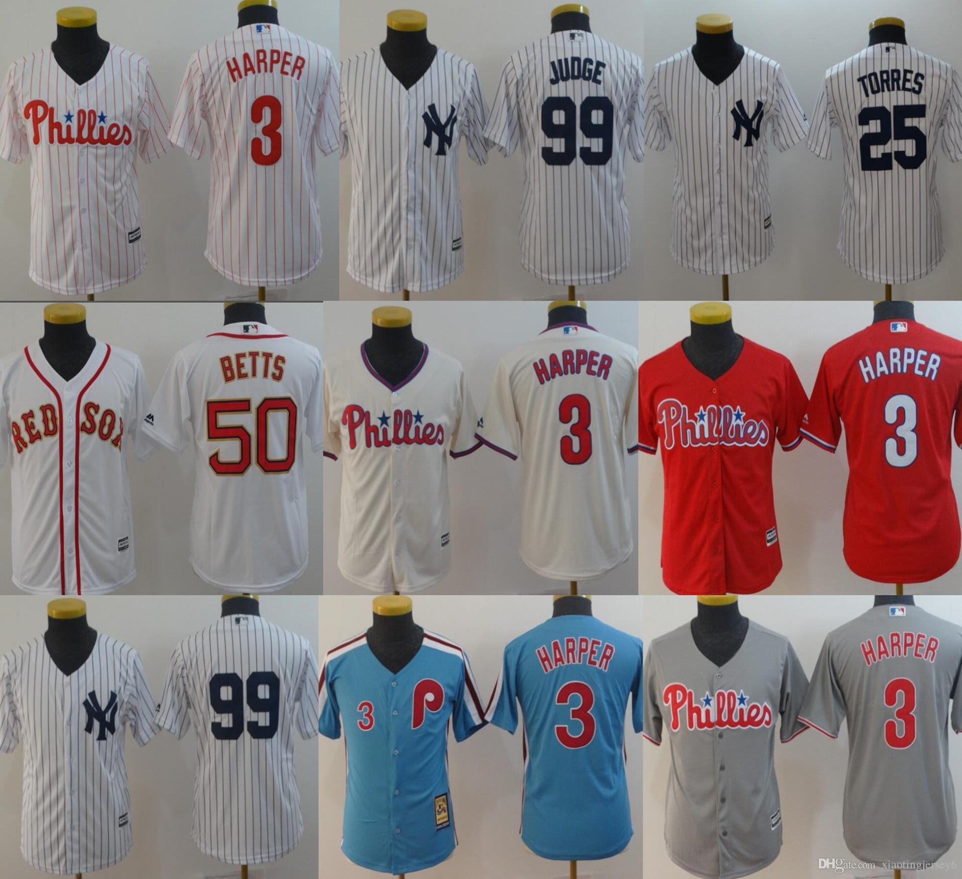 new products 0f514 41377 Boston Jerseys Red Sox 50 Mookie Betts 3 Bryce Harper 99 Aaron Judge 25  Torres Philadelphia Youth Kids Baseball Jerseys Size: S-XL