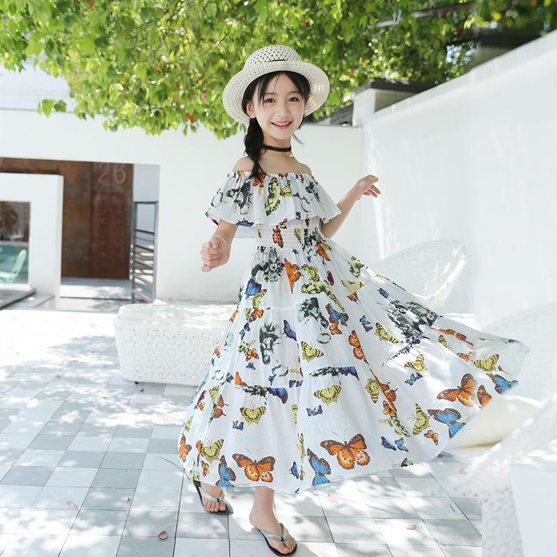 09c321da3 Vestido de niña de verano Vestido floral largo para niños Playa de  vacaciones Niños Ropa para niñas adolescentes para 5 6 8 10 12 13 años