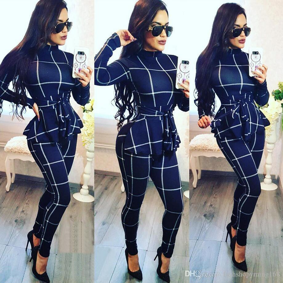 78f5a783c2 2019 2019 Europe And The United States Hot Spring And Autumn Fashion New Women S  Casual Plaid Jumpsuit With Belt From Fashionshop368