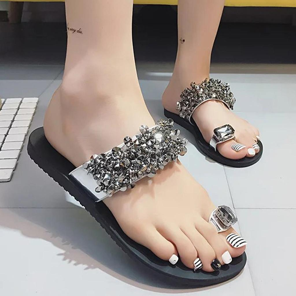 YOUYEDIAN Women's Bohemia Rhinestone Slippers Women's Non-Slip Flat Open Toe Shoes Casual Sandals chinelos e pantufas#F4