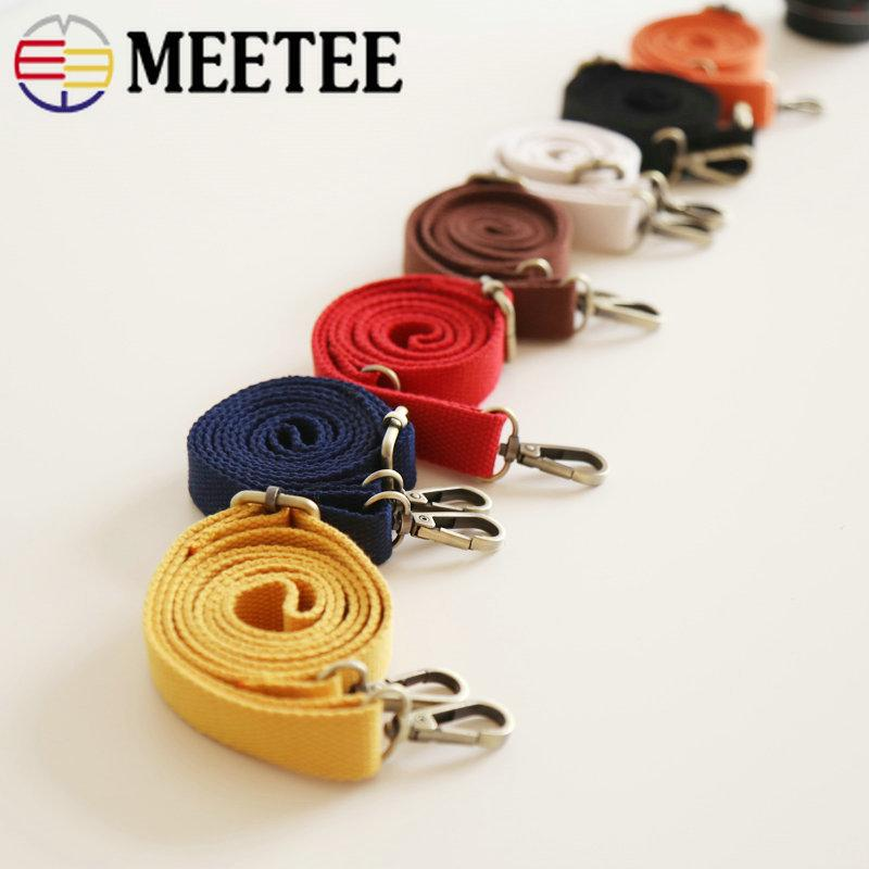 Meetee 2*130cm Thick Cotton Canvas Webbing Bag Adjustable Shoulder Strap Chain Buckle DIY Package Bag Part Accessory BF017