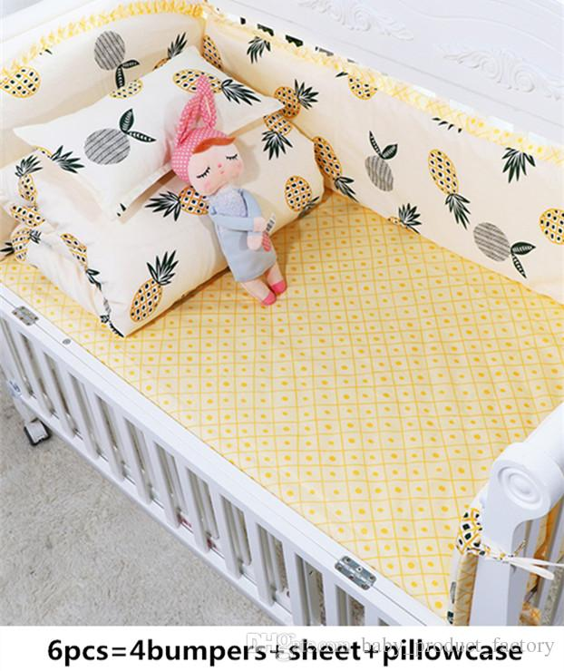 Promotion! 6PCS Baby Bedding Set 100% Cotton Crib Bedding for Children,include(bumpers+sheet+pillow cover)