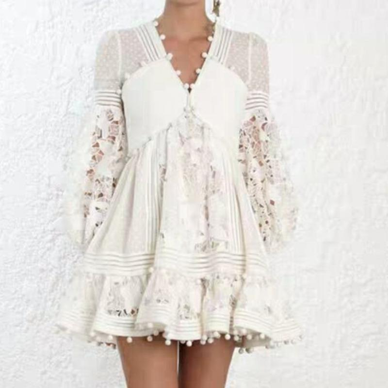 QLZW 2019 Summer New Fashion V-neck Lace Mesh Sexy Hollow White Dress Trendy Tide Long Section Hot Sale Women Clothes BE582