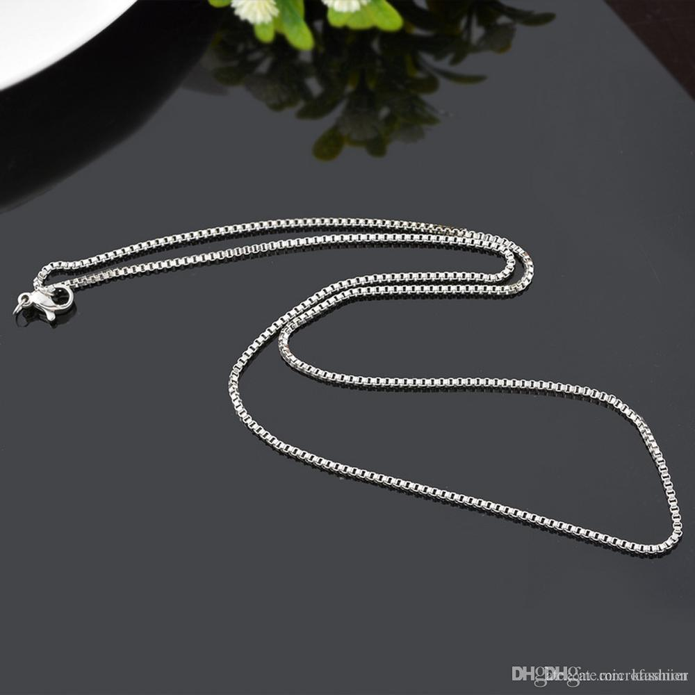 2e31bd9a34601 New 925 Sterling Silver plated Thin Link Box Chain 1mm Necklace for Pendant  Charms Jewelry For Girls Womens Pure Stamped Italy
