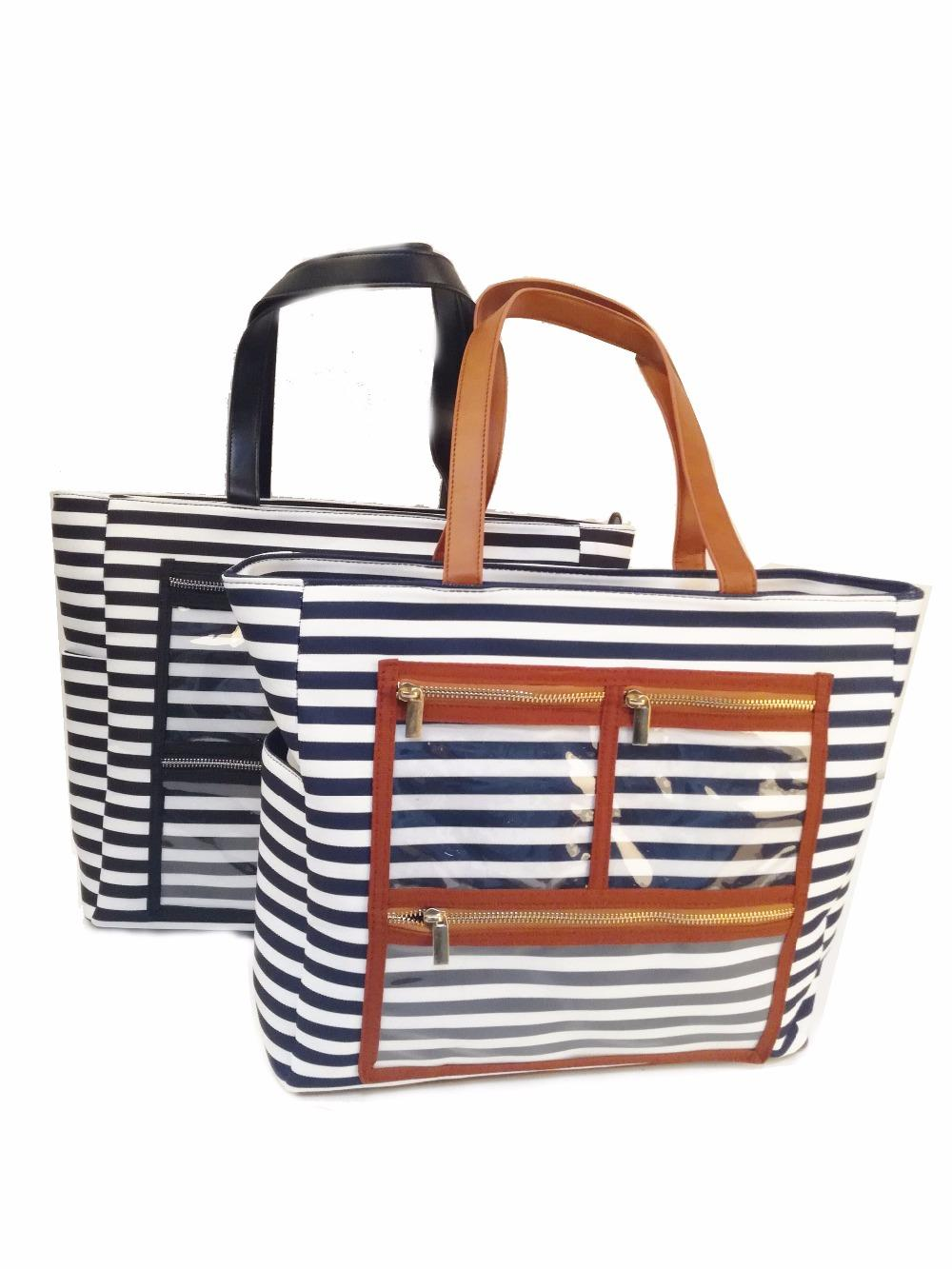 Canvas Striped PVC Display Bag Wholesale Blanks Carry All Essential Oil Purse Lipstick Tote with Clear Pockets LJJM1984