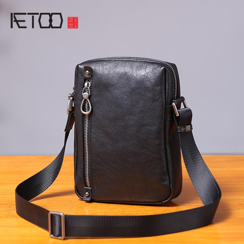 0ff0d6ec7fd7 AETOO Single Shoulder Bag Male Leather Casual Vertical Small Bag Handmade  Retro Head Cowhide Men S Small Satchel Cross Body Purse Hobo Handbags From  Yera