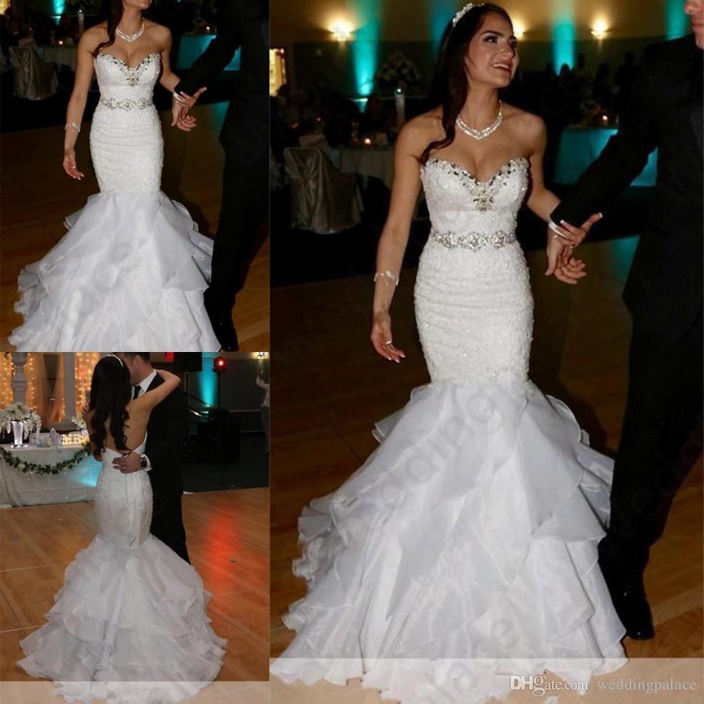 db5ab7d8c908 2019 Stylish Sweetheart Mermaid Wedding Dresses Lace Appliques Bead Sequin  Tiered Bottom Bridal Dress Crystal Sash Wedding Gowns Vintage Style Wedding  ...