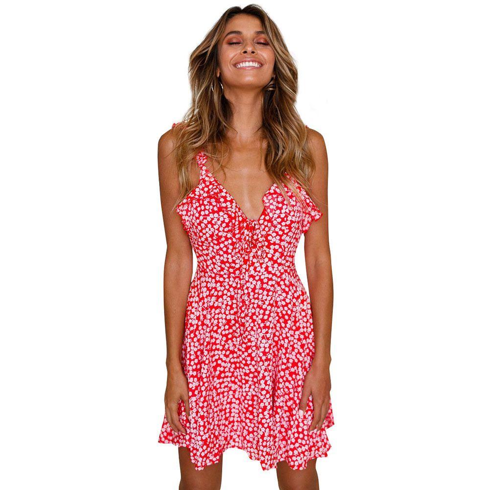 b4bc95e702ff 2019 Summer Women Beach Short Dress Boho Floral Ruffle V Neck Backless A  Line Dress Casual Pleated Mini Sun Dress Red Clothes White Floral Dress  Ladies ...