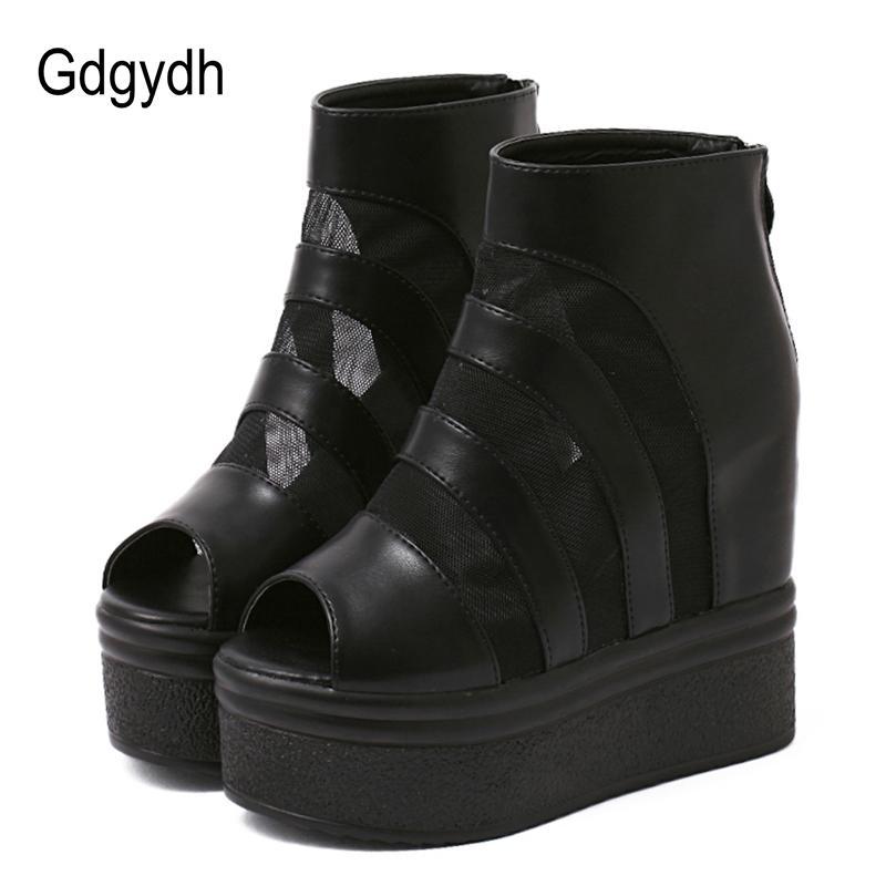 26571e7f3edd Acheter Gdgydh D été Chaussures Femme Sexy Mesh 2019 Nouvelle Arrivée  Printemps Toe Plate Forme Compensée Bottes Femmes Talons Haut Chaussures  Confortable ...