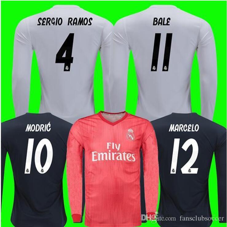 70b508dcb5 Real Madrid Ronaldo Modric Camiseta De Fútbol De Manga Larga Benzema 18 19  ISCO Madrid Kroos Sergio Ramos Bale Marcelo 2018 2019 ASENSIO Camiseta Por  ...