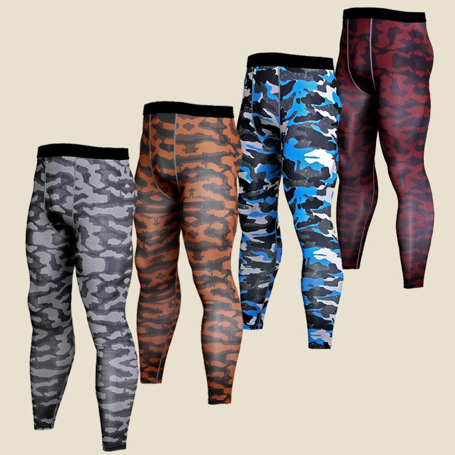 Plus Size Mens Compression Tights Base Layers Joggers Leggings 2019 Camouflage 3d Print Fitness Trousers Quick Dry Long Pants