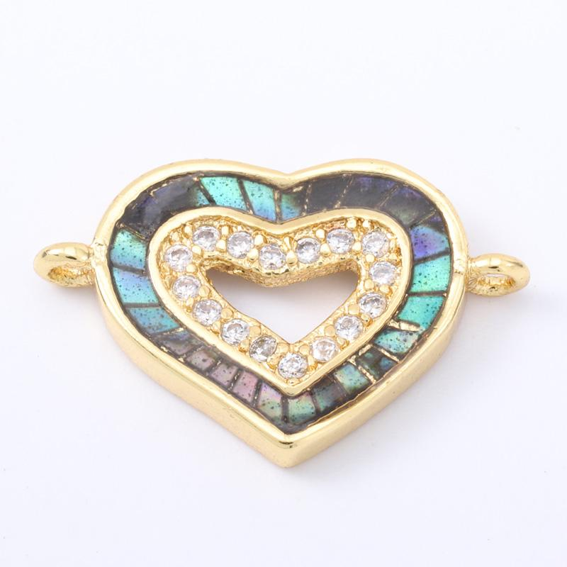 Singreal Abalone Shell Micro Pave Heart Charms Bracelet necklace Choker Pendant connectors for women DIY Jewelry making