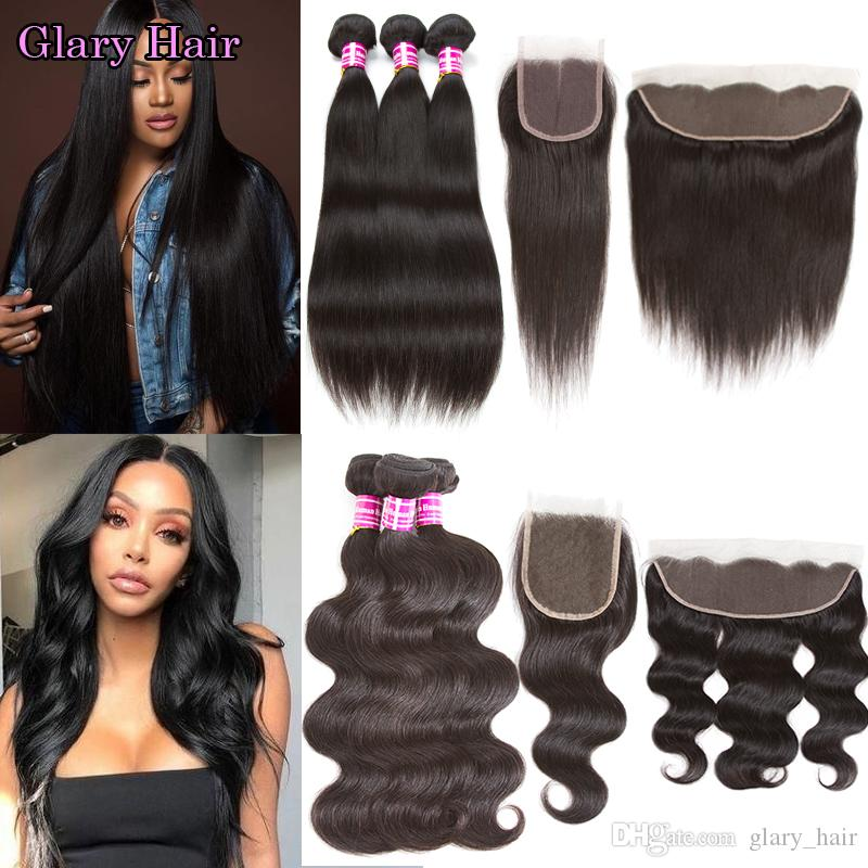 10A Brazilian Virgin Hair Straight Bundles with Frontal Unprocessed Body Wave Human Hair Wefts with Closure Peruvian Malaysian Extensions